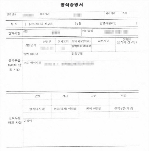 한국통합민원센터는 군경력증명서와 병적증명서를 발급 대행하고 있다.